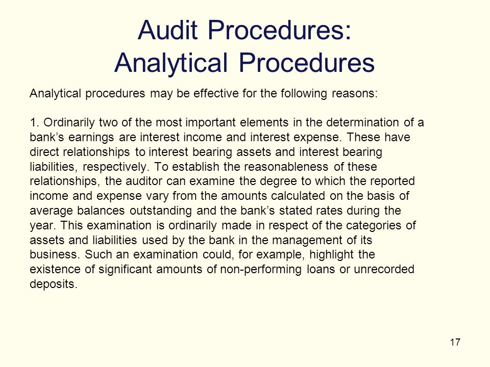 Audit Procedures: Analytical Procedures
