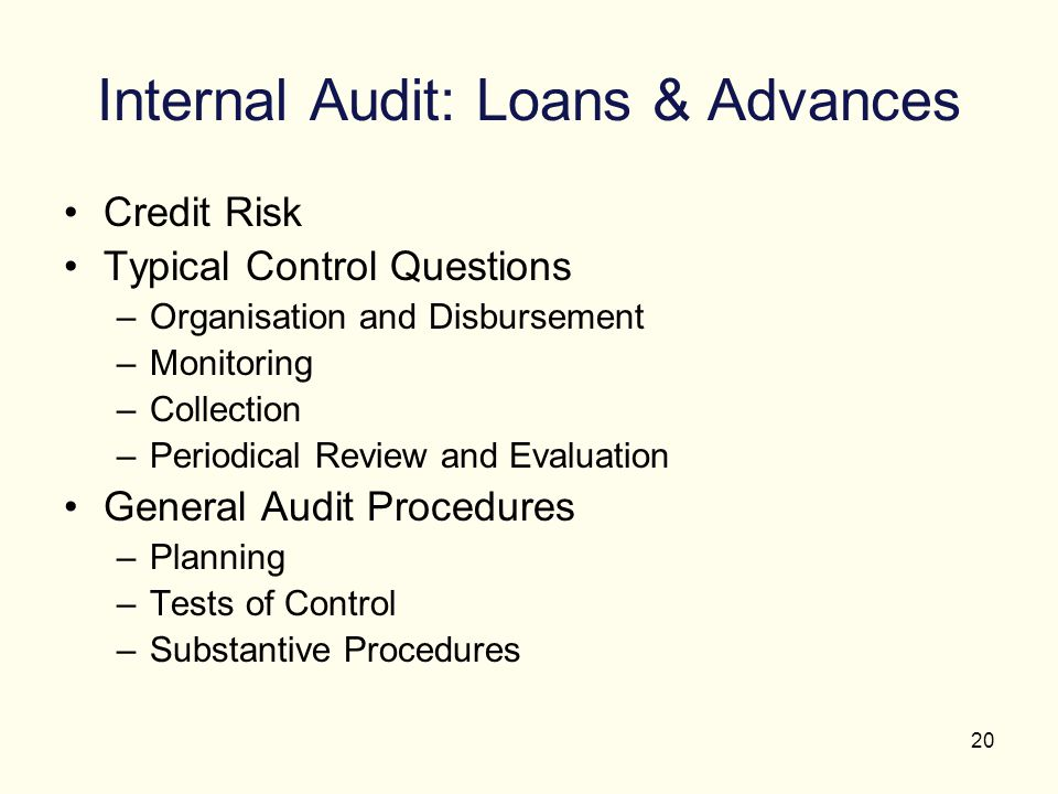 Internal Audit: Loans & Advances