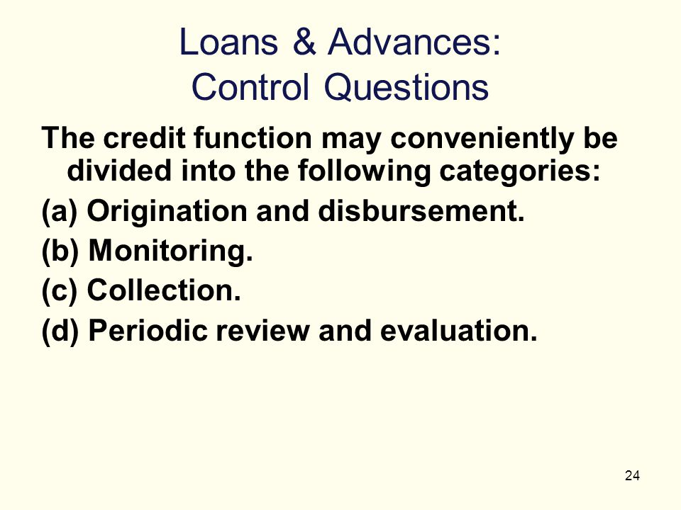 Loans & Advances: Control Questions