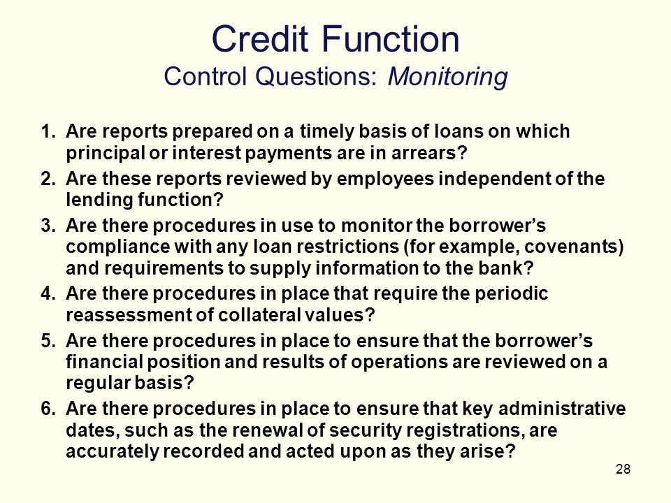 Credit Function Control Questions: Monitoring