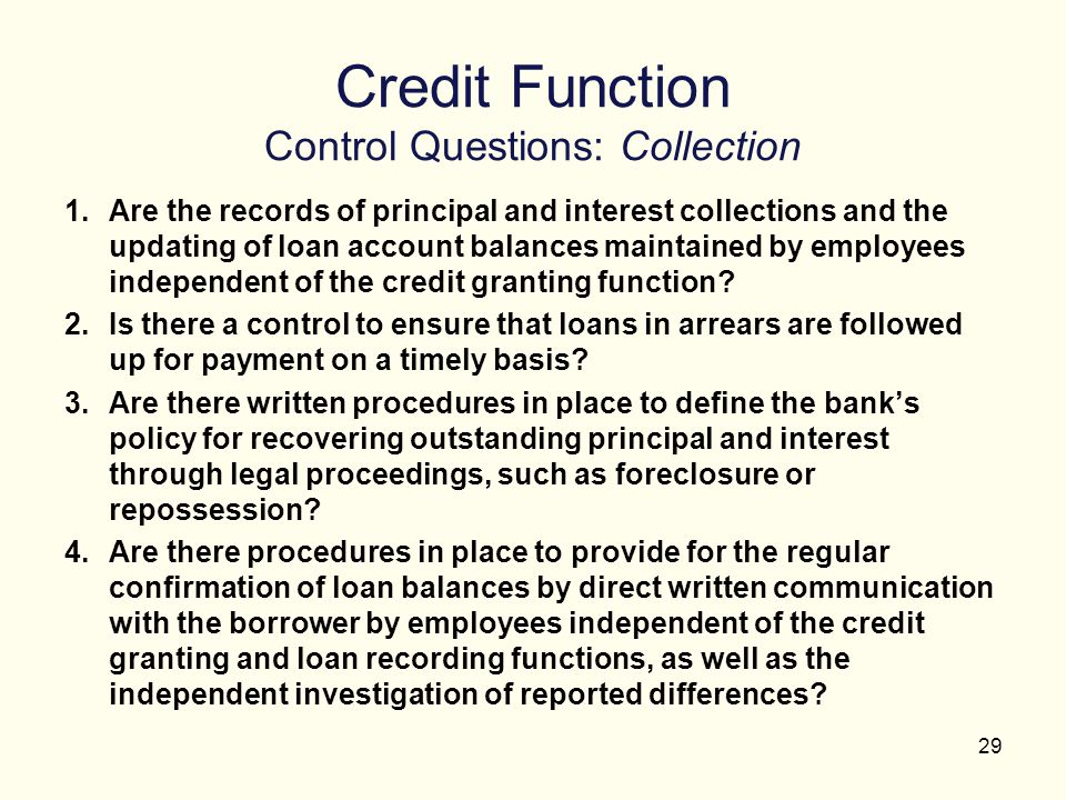Credit Function Control Questions: Collection