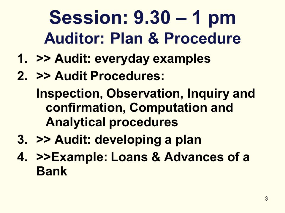Session: 9.30 – 1 pm Auditor: Plan & Procedure