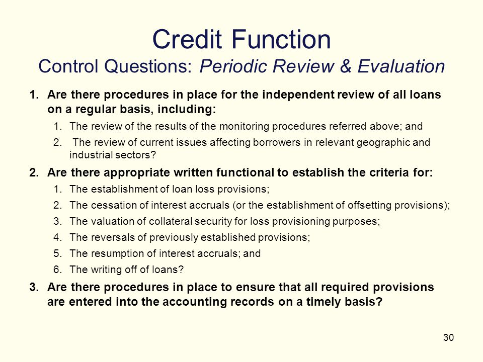 Credit Function Control Questions: Periodic Review & Evaluation
