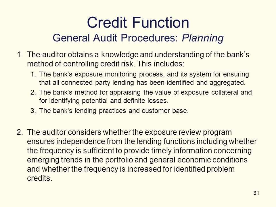 Credit Function General Audit Procedures: Planning