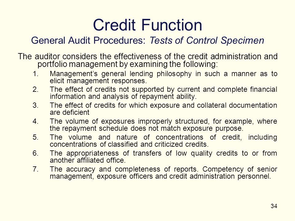 Credit Function General Audit Procedures: Tests of Control Specimen