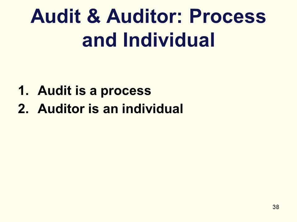 Audit & Auditor: Process and Individual
