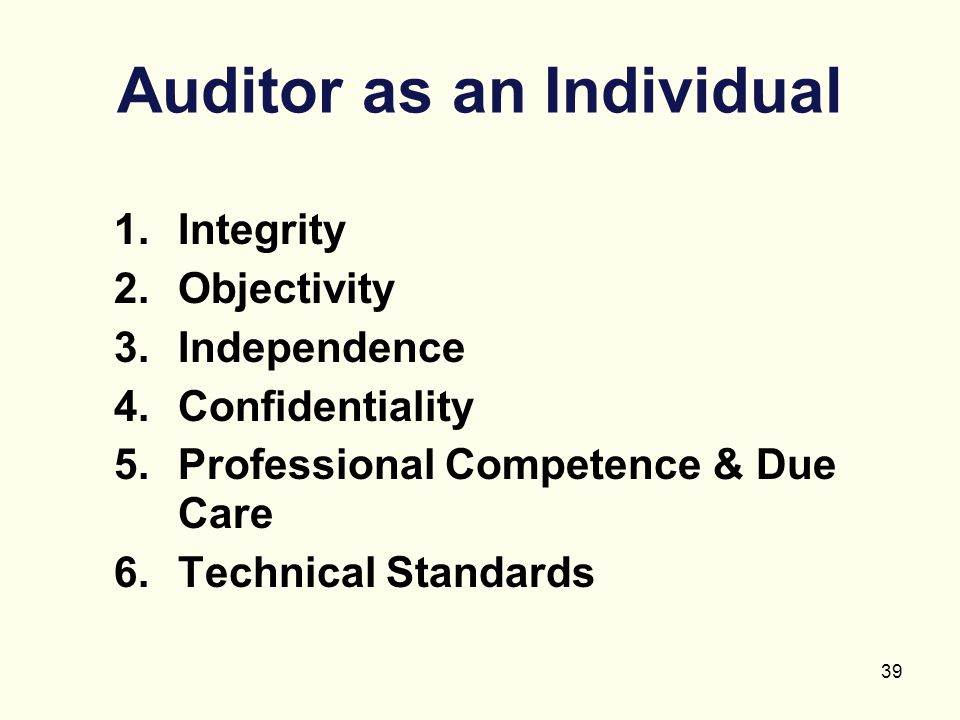 Auditor as an Individual