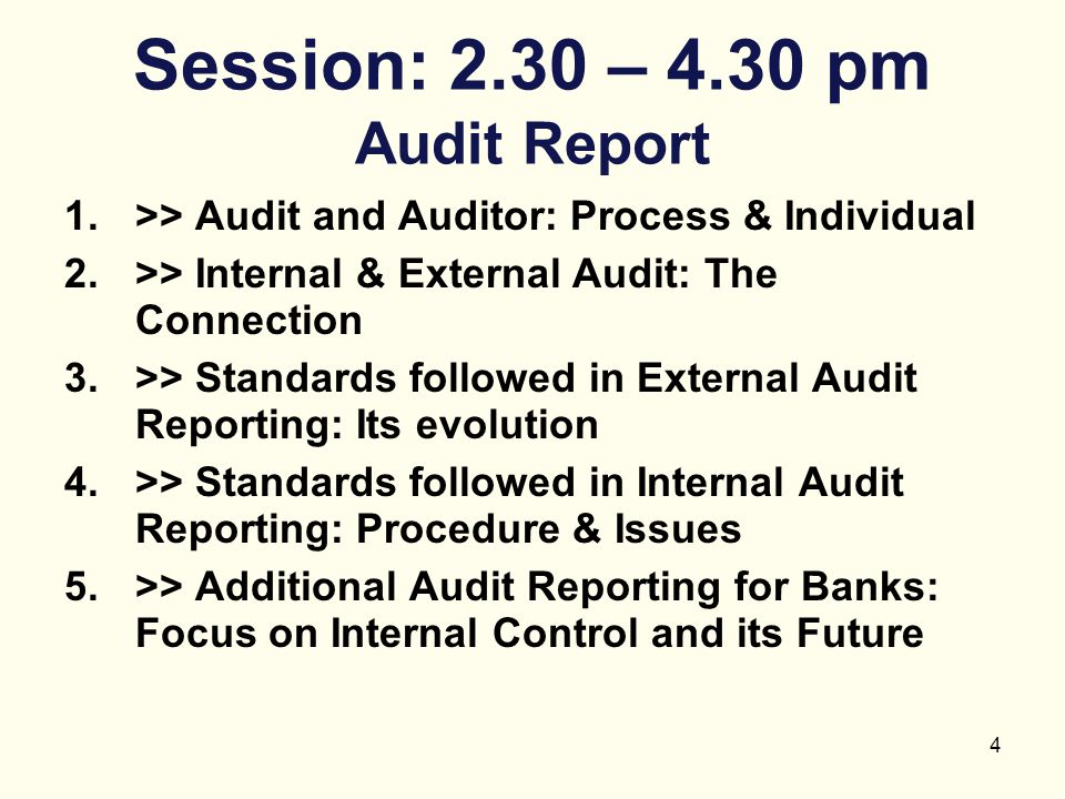 Session: 2.30 – 4.30 pm Audit Report