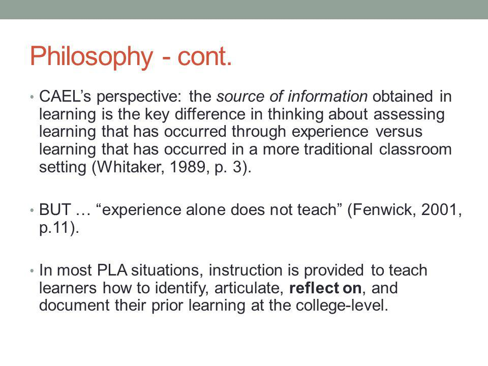Philosophy - cont.