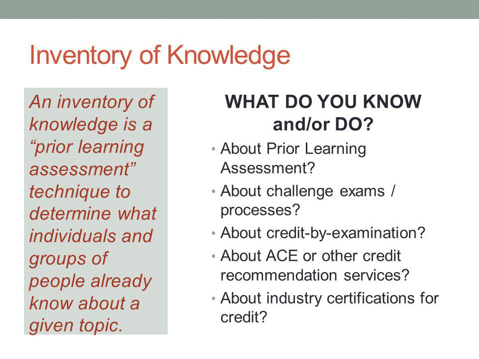 Inventory of Knowledge