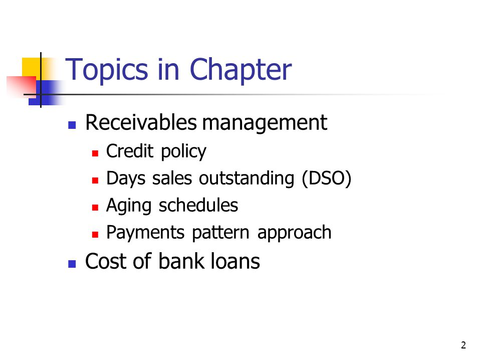 Topics in Chapter Receivables management Cost of bank loans