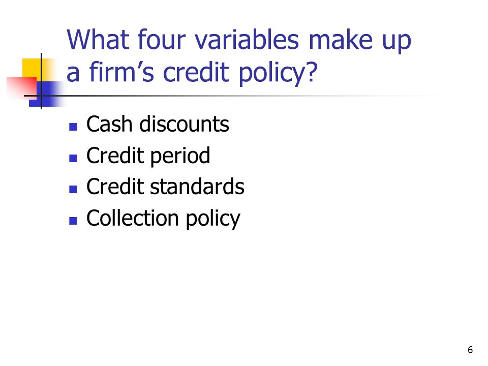 What four variables make up a firm's credit policy