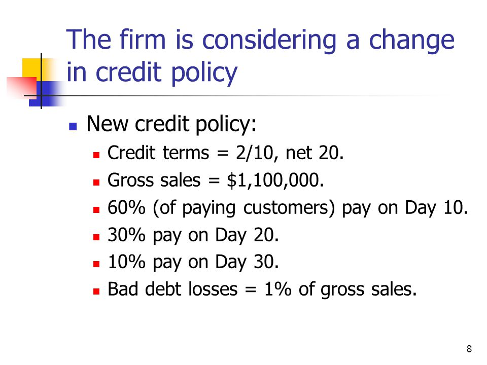 The firm is considering a change in credit policy