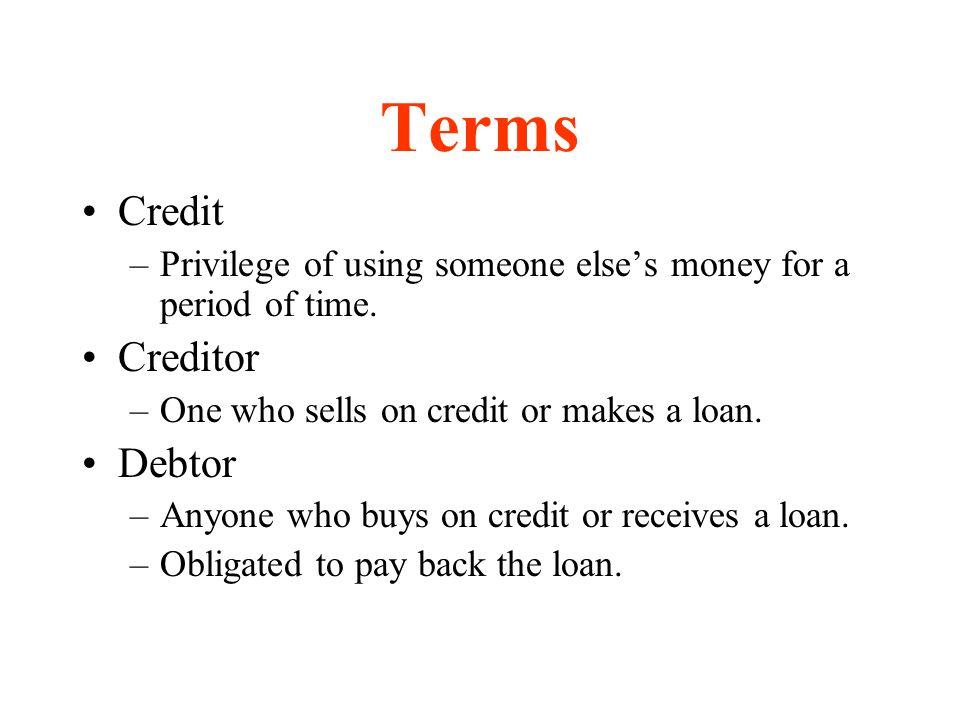 Terms Credit Creditor Debtor