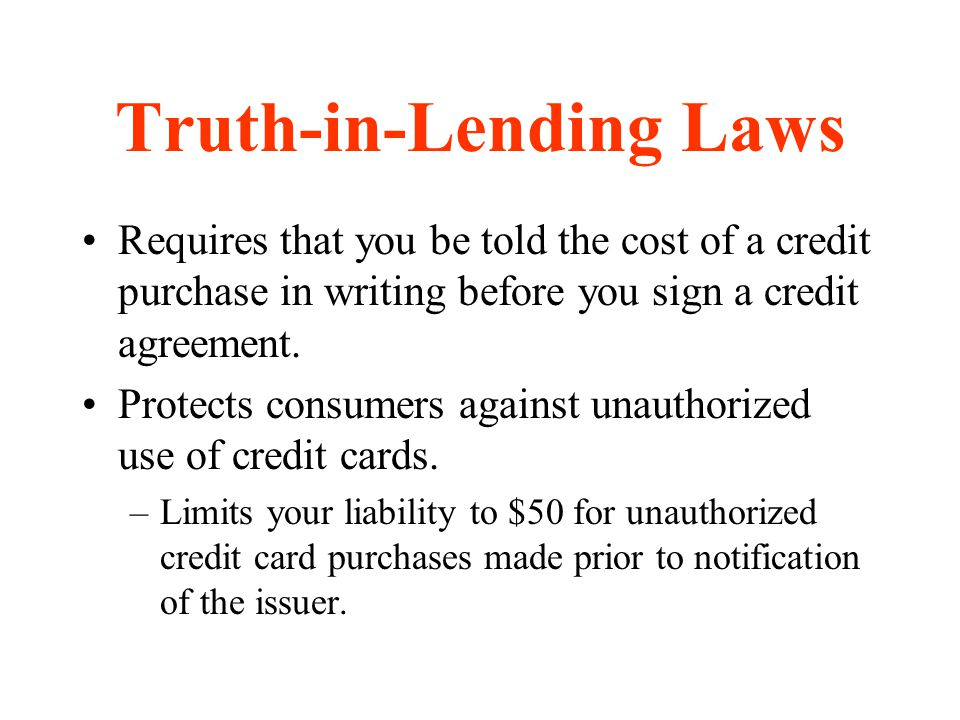 Truth-in-Lending Laws