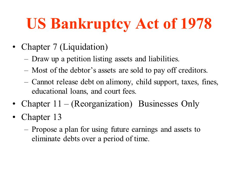 US Bankruptcy Act of 1978 Chapter 7 (Liquidation)