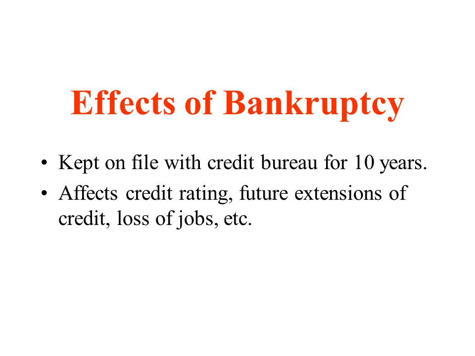 Effects of Bankruptcy Kept on file with credit bureau for 10 years.