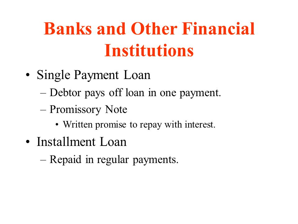 Banks and Other Financial Institutions