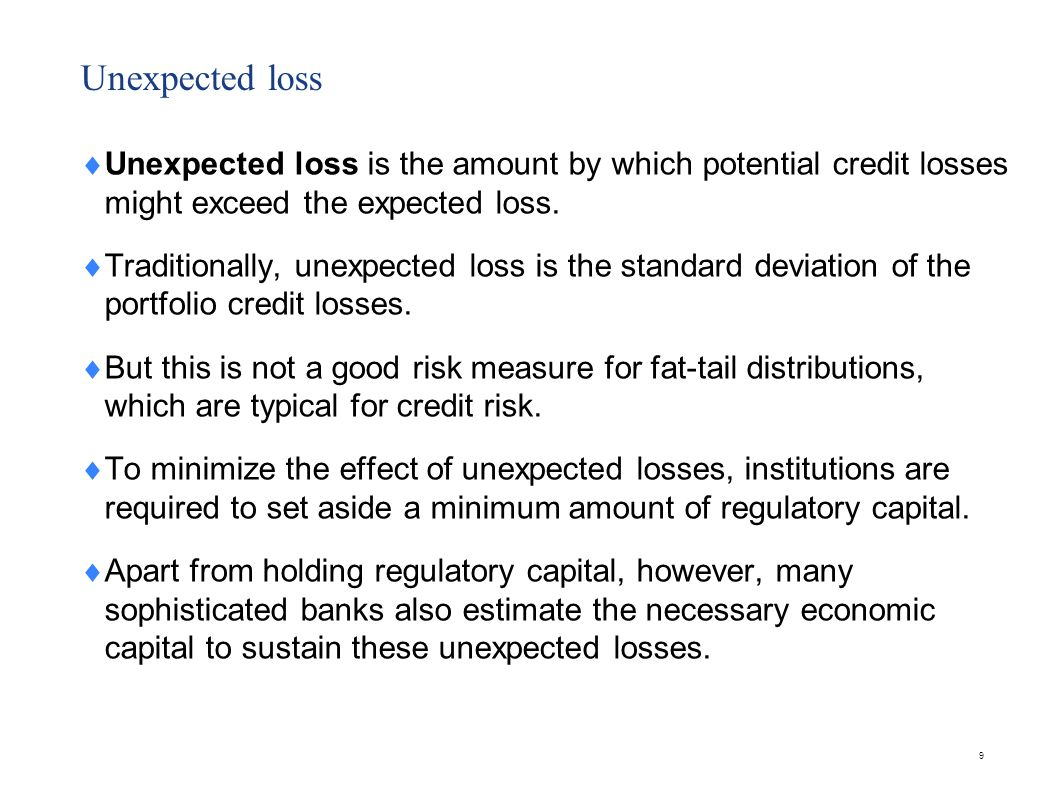 Stress Losses Stress losses are those that occur in the tail region of the portfolio loss distribution.