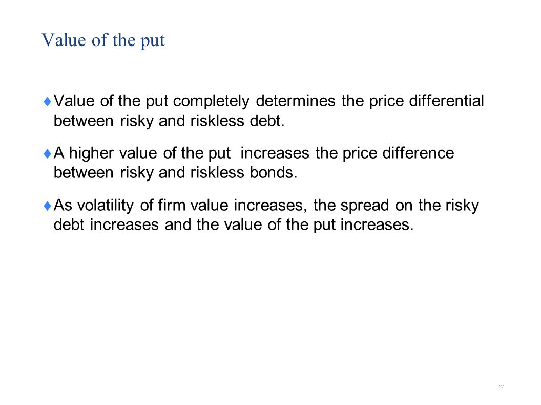 Value of equity Let E be the value of the firm's equity.