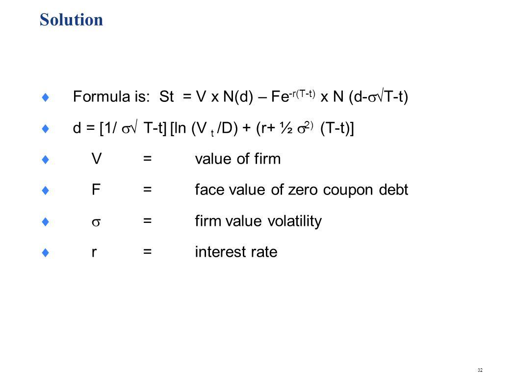 Solution S = 60 x N (d) – (50)e-(.05)(3) x N (d-(.1)3)