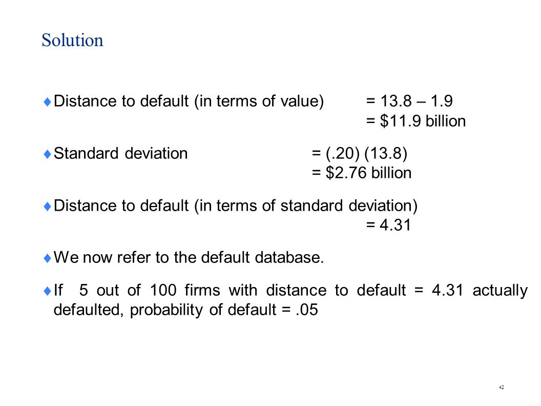 Problem Given the following figures, compute the distance to default:
