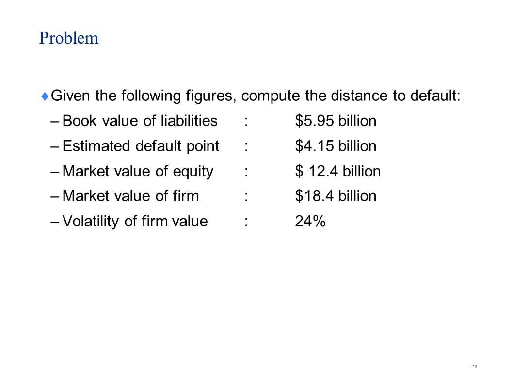 Solution Distance to default (in terms of value) = 18.4 – 4.15 = $14.25 billion.