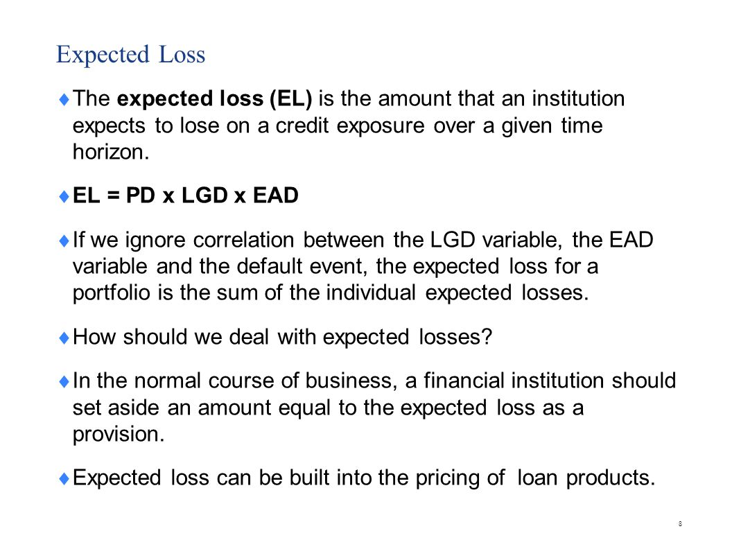 Unexpected loss Unexpected loss is the amount by which potential credit losses might exceed the expected loss.