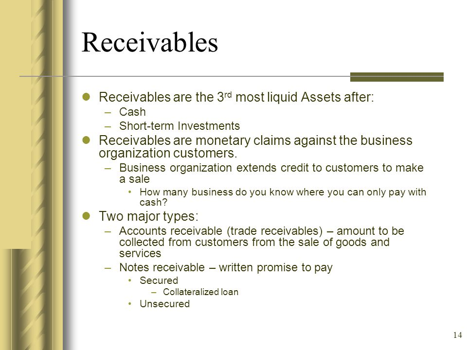Receivables Receivables are the 3rd most liquid Assets after: