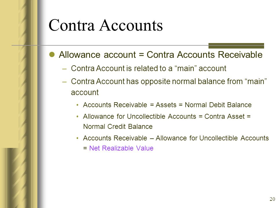 Contra Accounts Allowance account = Contra Accounts Receivable