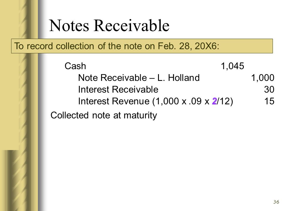 Notes Receivable To record collection of the note on Feb. 28, 20X6: