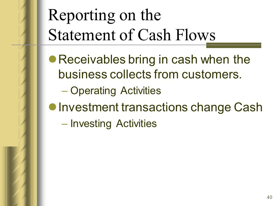 Reporting on the Statement of Cash Flows