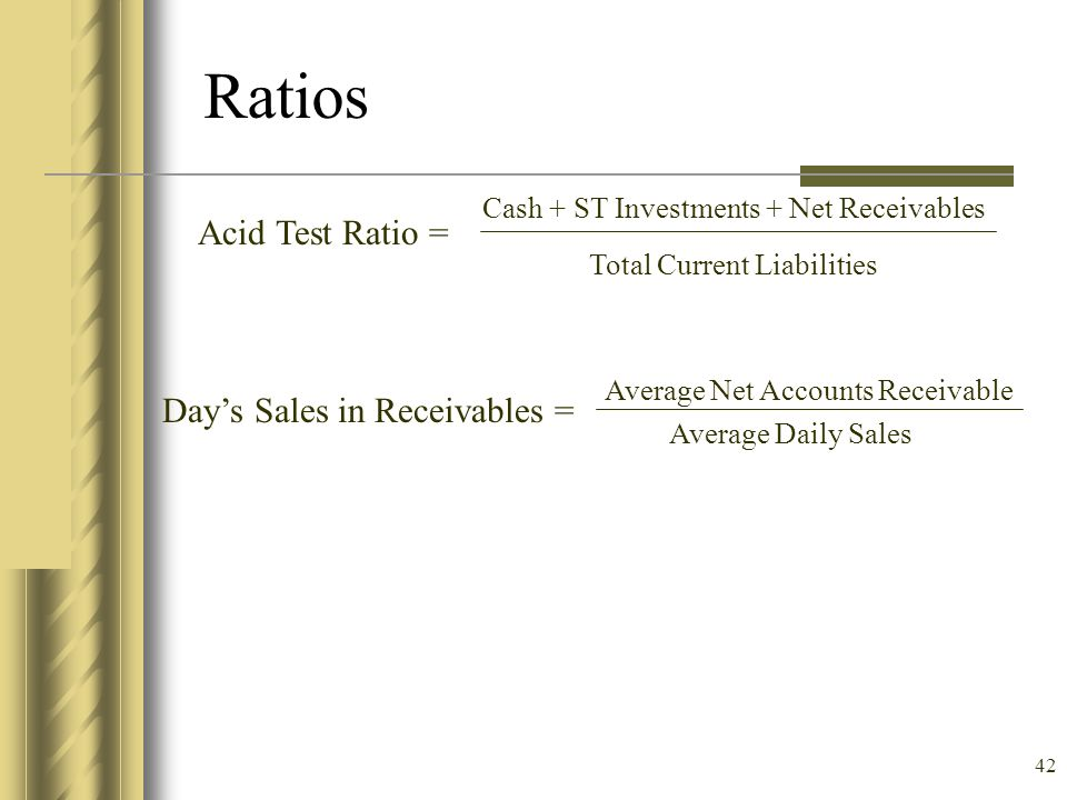 Ratios Acid Test Ratio = Day's Sales in Receivables =