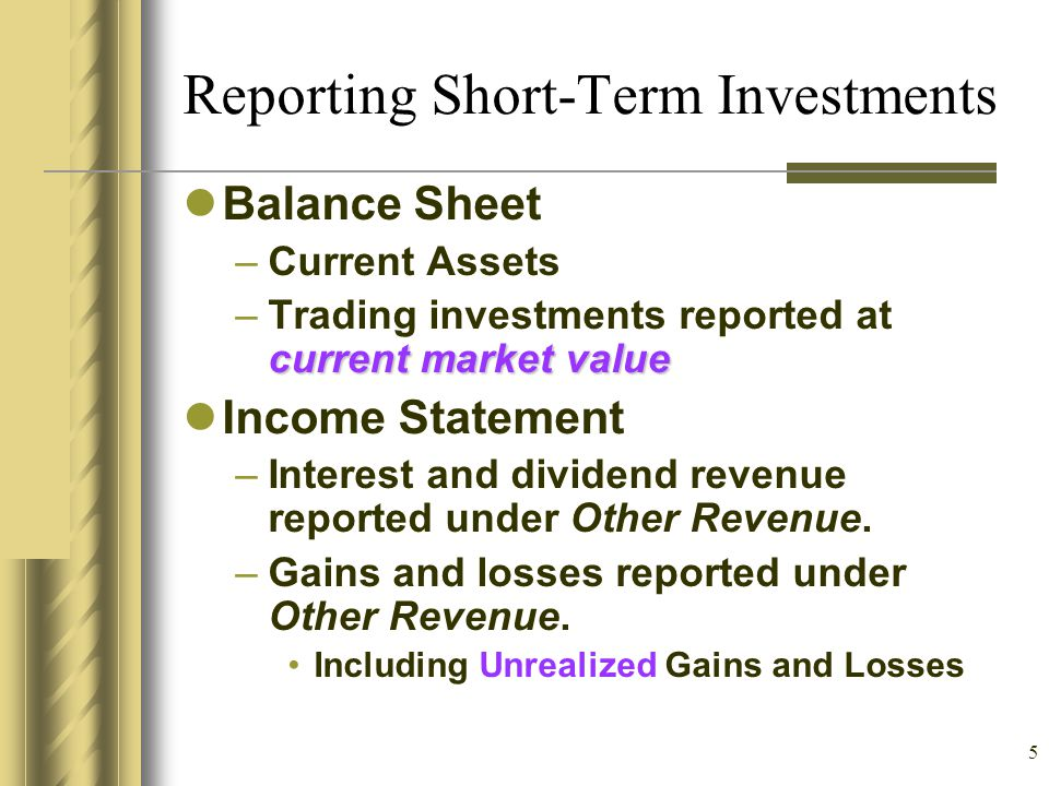 Reporting Short-Term Investments