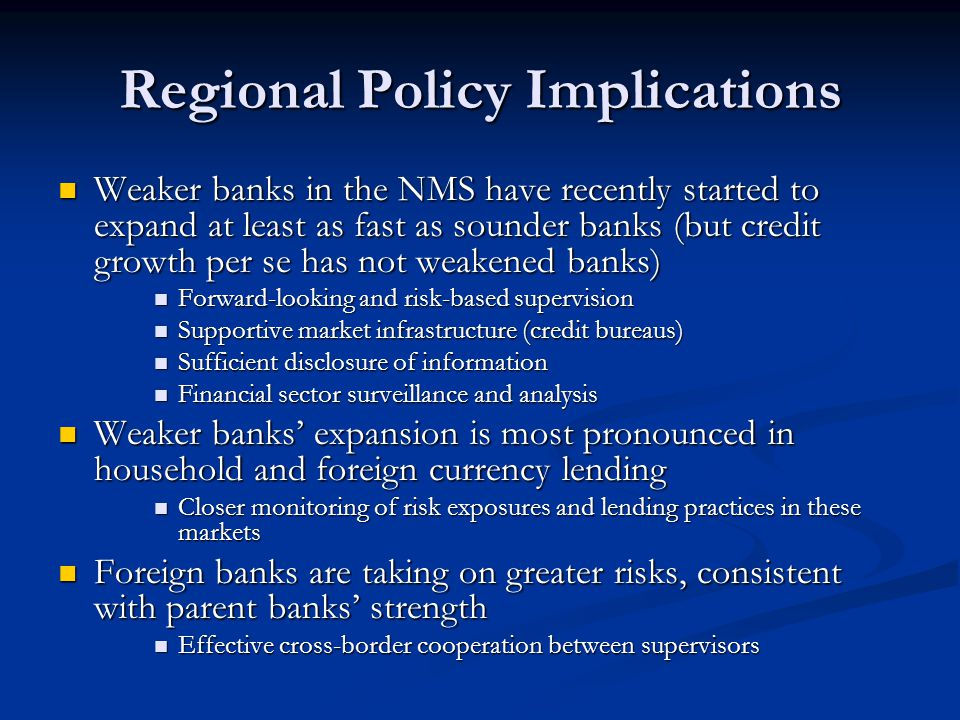 Regional Policy Implications