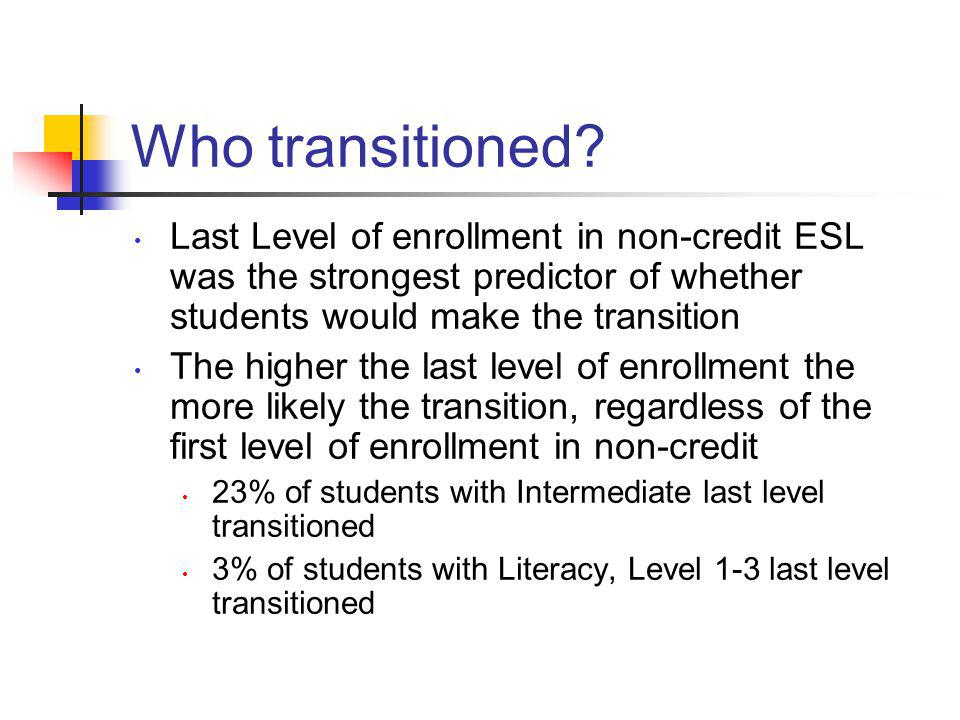 Who transitioned Last Level of enrollment in non-credit ESL was the strongest predictor of whether students would make the transition.