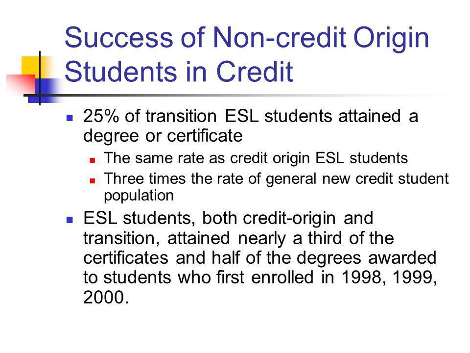 Success of Non-credit Origin Students in Credit
