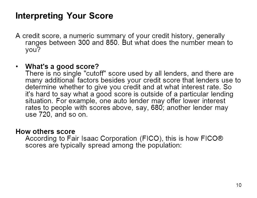 Interpreting Your Score