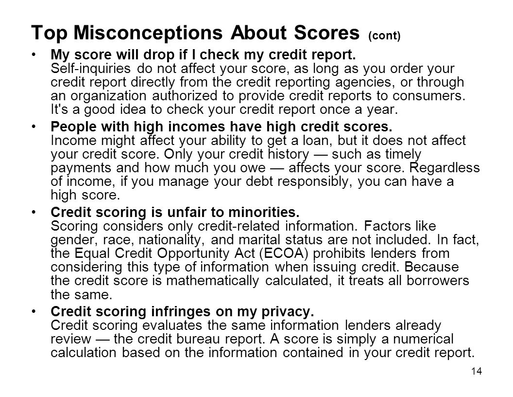 Top Misconceptions About Scores (cont)