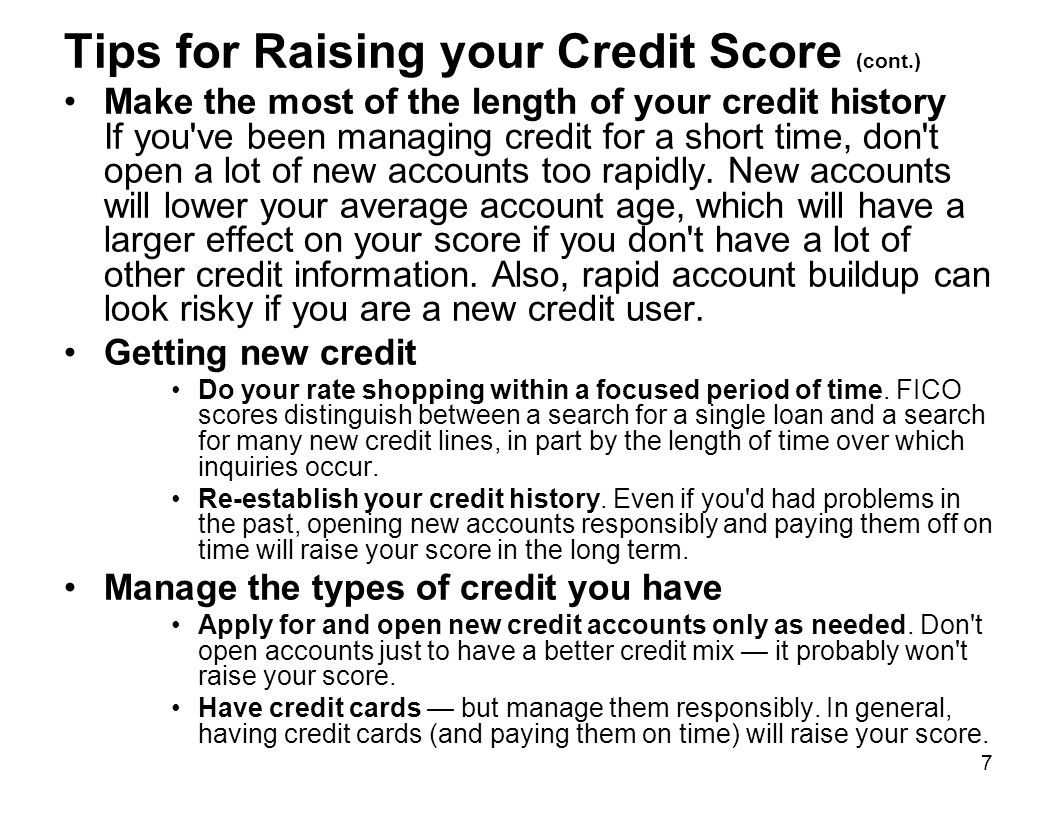 Tips for Raising your Credit Score (cont.)