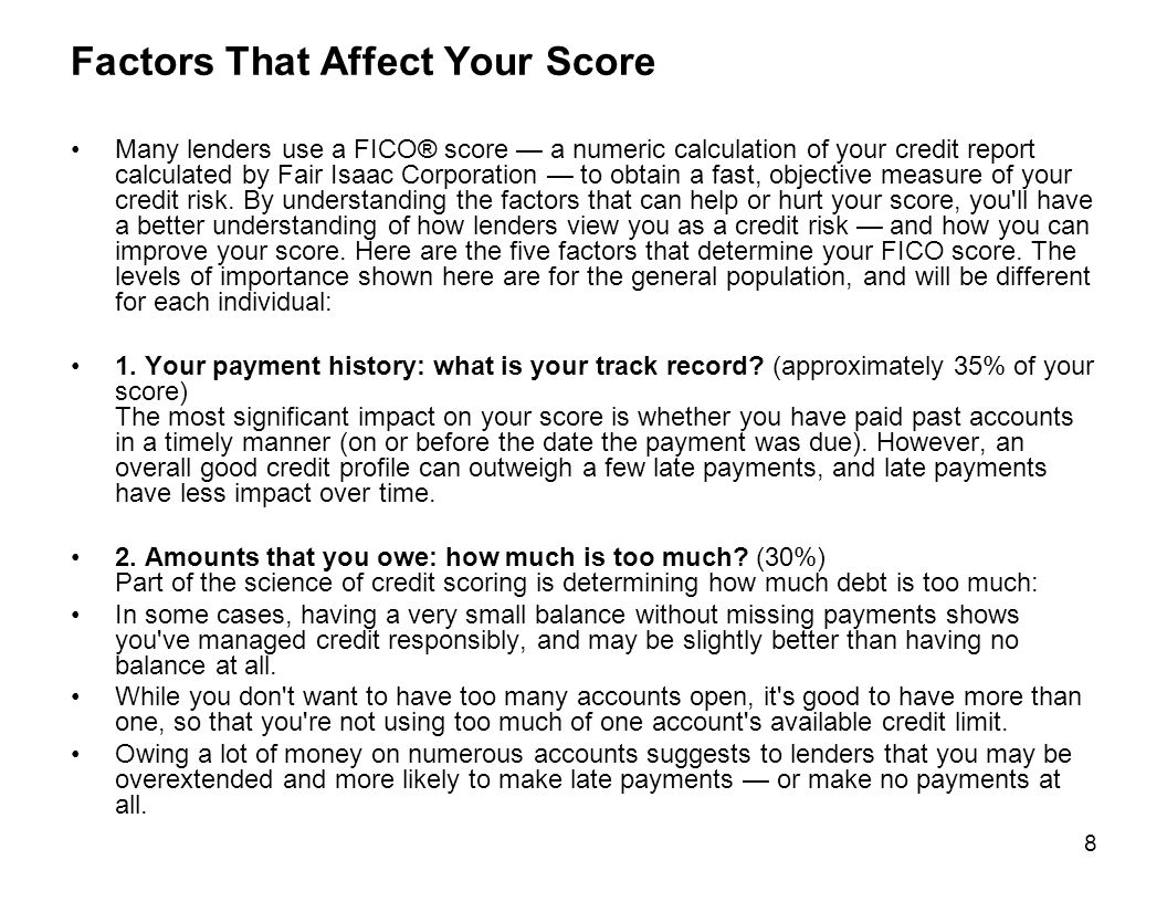Factors That Affect Your Score