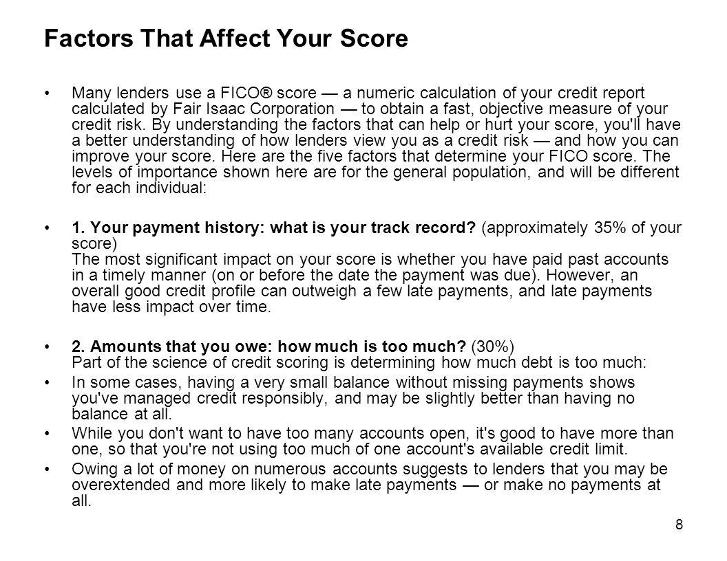 Factors That Affect Your Score