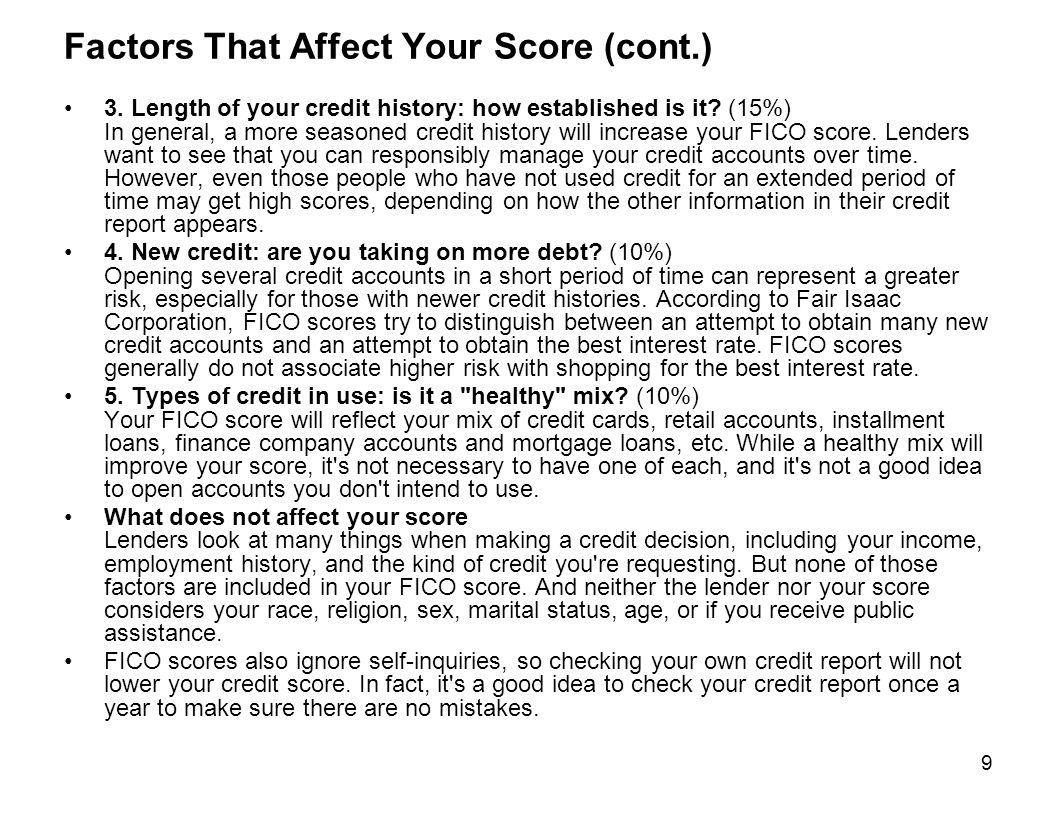Factors That Affect Your Score (cont.)