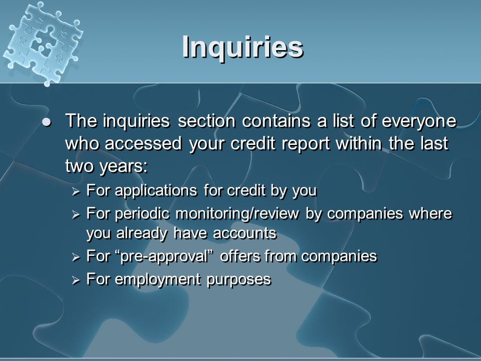 Inquiries Or for Employment Purposes