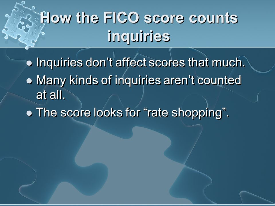 How the FICO score counts inquiries
