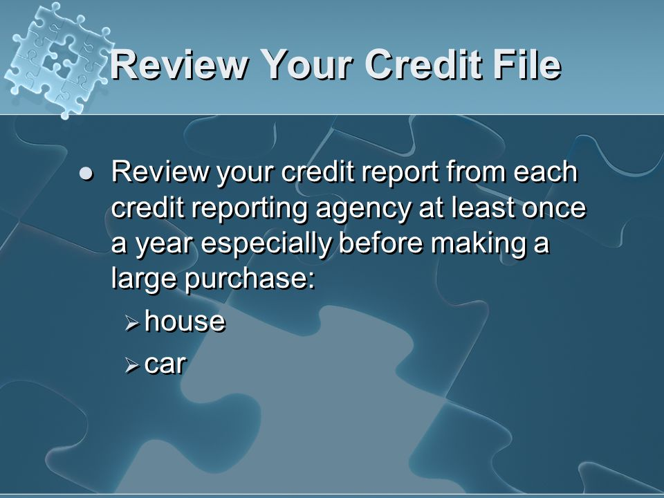 Review Your Credit File