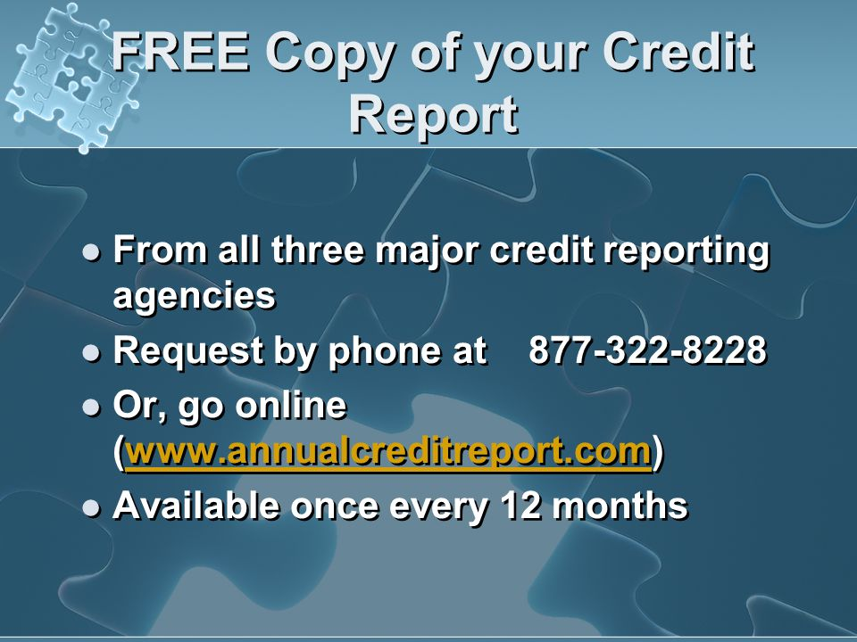 FREE Copy of your Credit Report