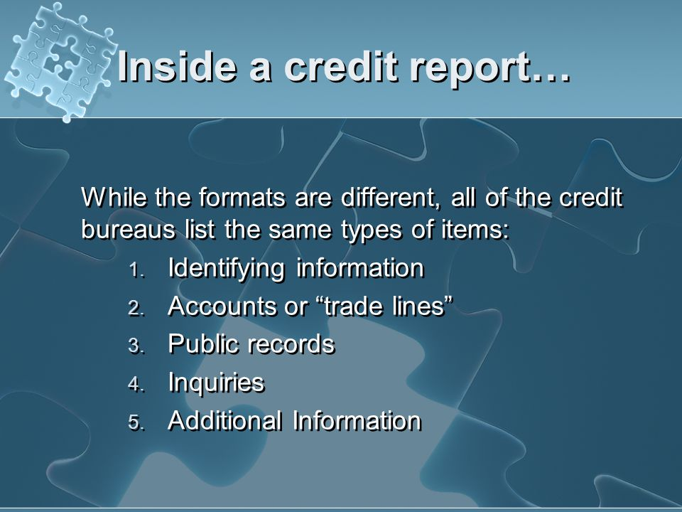 Inside a credit report…