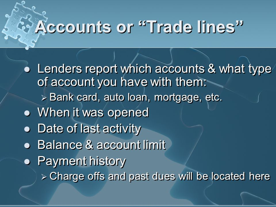 Accounts or Trade lines