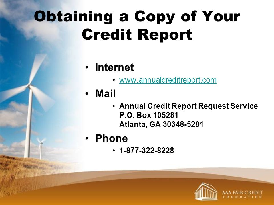 Obtaining a Copy of Your Credit Report